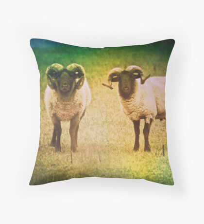 Two curious Rams Throw Pillow