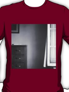 Country house window open summer afternoon Tuscany Italy black and white square silver gelatin film analog photo T-Shirt