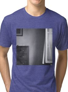 Country house window open summer afternoon Tuscany Italy black and white square silver gelatin film analog photo Tri-blend T-Shirt