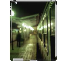 Old train at night in empty station green square Hasselblad medium format film analog photograph iPad Case/Skin