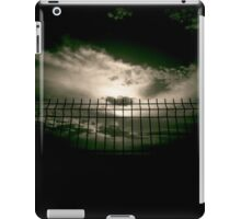 Fence against sky and clouds black and white analog 35mm silver gelatin black and white film photographs iPad Case/Skin
