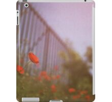 Poppies growing up fence in hot summer faded vintage retro square Hasselblad medium format film analog photo iPad Case/Skin