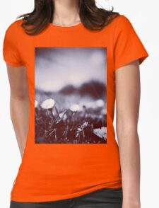 Daisies on lawn blue closeup macro bokeh square Hasselblad medium format film analog photo Womens Fitted T-Shirt