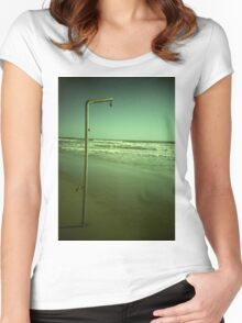 Beach shower in surreal green 35mm xpro cross processed lomographic film lomography analog photo Women's Fitted Scoop T-Shirt