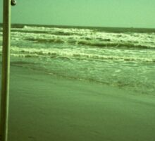Beach shower in surreal green 35mm xpro cross processed lomographic film lomography analog photo Sticker
