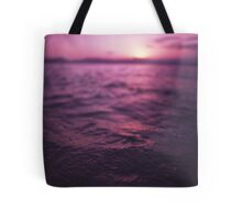 Mediterranean sea water off Ibiza Spain in surreal purple sunset evening dusk colors film analog photo Tote Bag