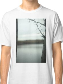 Tree branches and lake in winter in blue grey colors sky Madrid Casa de Campo Spain digital photograph Classic T-Shirt