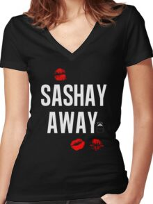 Sashay Away black Women's Fitted V-Neck T-Shirt