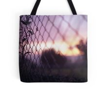 Wire fence and foliage on summer evening  in Spain square medium format film analogue photo Tote Bag