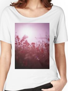 Red wild flowers poppies on hot summer day Hasselblad square medium format film analogue photography Women's Relaxed Fit T-Shirt