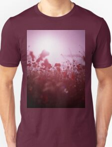 Red wild flowers poppies on hot summer day Hasselblad square medium format film analogue photography T-Shirt