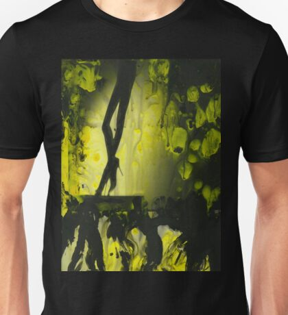 Yellow water color painted silver gelatin black and white print  of legs of female dancer analog film photo Unisex T-Shirt