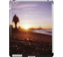 Man walking on beach at sunset square color analogue medium format film Hasselblad photograph iPad Case/Skin