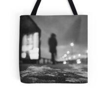 Man waiting at bus stop at night in winter square black and white analogue medium format film Hasselblad  photo Tote Bag