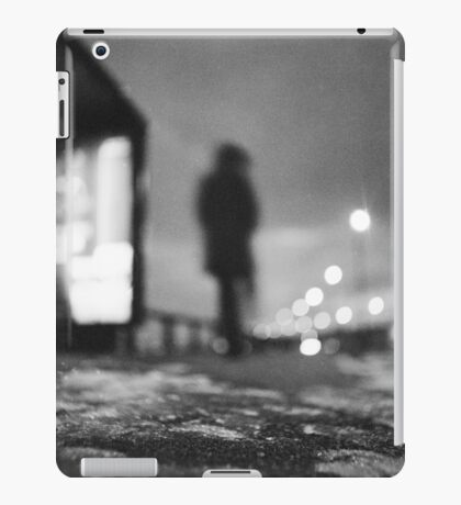 Man waiting at bus stop at night in winter square black and white analogue medium format film Hasselblad  photo iPad Case/Skin
