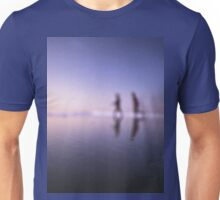 Children running on beach square color analogue medium format film still life Hasselblad  photo Unisex T-Shirt