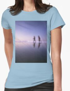 Children running on beach square color analogue medium format film still life Hasselblad  photo Womens Fitted T-Shirt