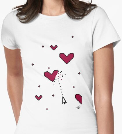 VIDEO HEARTS by Tai's Tees Womens Fitted T-Shirt