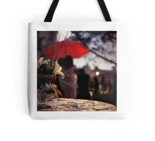 Summer rain - glass of champagne on table in garden wedding party Hasselblad  analog film still life photo Tote Bag