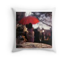 Summer rain - glass of champagne on table in garden wedding party Hasselblad  analog film still life photo Throw Pillow
