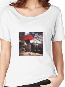 Summer rain - glass of champagne on table in garden wedding party Hasselblad  analog film still life photo Women's Relaxed Fit T-Shirt