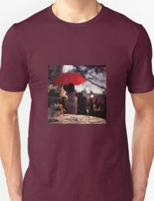 Summer rain - glass of champagne on table in garden wedding party Hasselblad  analog film still life photo Unisex T-Shirt