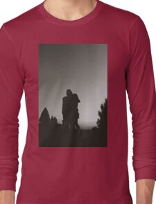 Wedding guests walking holding in silhouette at sunset in marriage party silver gelatin black and white 35mm negative analog film photo  Long Sleeve T-Shirt