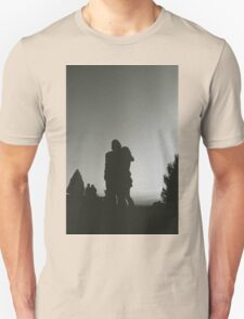Wedding guests walking holding in silhouette at sunset in marriage party silver gelatin black and white 35mm negative analog film photo  Unisex T-Shirt