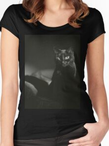 Film noir portrait of black cat Hasselblad square medium format film analogue photograph handmade darkroom print Women's Fitted Scoop T-Shirt