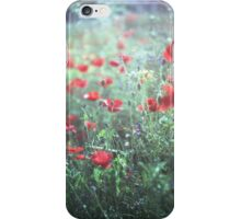 Red wild poppy flowers on green Hasselblad square medium format film analogue photograph iPhone Case/Skin