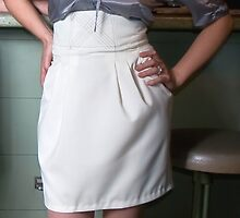 Bridget in 'Tulip Skirt and Silk Cotton hailspot Shirt with gathered neckline' by Lisa Defazio