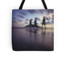 Chillout silhouette of people walking on beach dusk sunset evening sky Hasselblad medium format film analogue photo Tote Bag