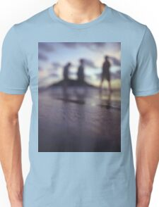 Chillout silhouette of people walking on beach dusk sunset evening sky Hasselblad medium format film analogue photo Unisex T-Shirt