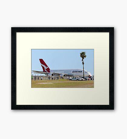 Qantas A380 At Perth Airport  Framed Print