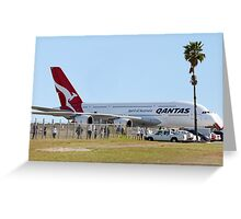 Qantas A380 At Perth Airport  Greeting Card