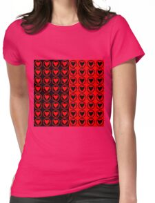 Red heart Black heart Womens Fitted T-Shirt