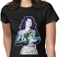 "Title: ""Keep Moving"" Queen Of Burlesque, Sexy Earth Girl with Guns Womens Fitted T-Shirt"
