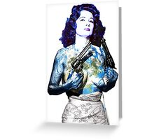 "Title: ""Keep Moving"" Queen Of Burlesque, Sexy Earth Girl with Guns Greeting Card"