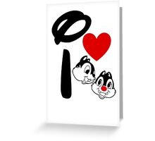 I Heart Chip 'n' Dale (Inverted) Greeting Card