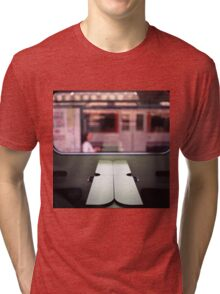 Train table and station Hasselblad medium format 120 square 6x6 negative c41 color analogue photograph Tri-blend T-Shirt
