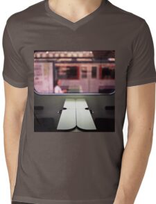Train table and station Hasselblad medium format 120 square 6x6 negative c41 color analogue photograph Mens V-Neck T-Shirt