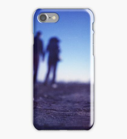 Romantic couple walking holding hands on beach in blue Medium format color negative film photo iPhone Case/Skin