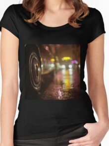 Cars in urban street on rainy night hasselblad medium format analog film photograph Women's Fitted Scoop T-Shirt