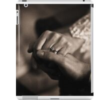 Bride and groom couple man and woman holding hands in marriage wedding black and white sepia tone silver gelatin 35mm negative film photo iPad Case/Skin