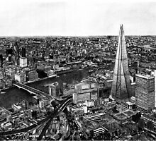 London Skyline Biro drawing by Jack Nolan