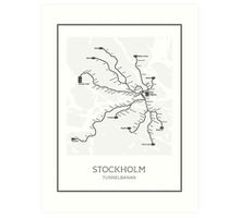 Stockholm Subway Map Geographic Art Print