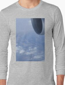 Jumbo jet airplane wing engine in flight flying over mountains and blue sky photograph Long Sleeve T-Shirt