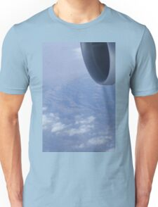 Jumbo jet airplane wing engine in flight flying over mountains and blue sky photograph Unisex T-Shirt