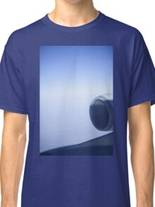 Jumbo jet airplane wing engine in flight flying over blue sky photo Classic T-Shirt