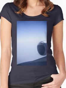 Jumbo jet airplane wing engine in flight flying over blue sky photo Women's Fitted Scoop T-Shirt